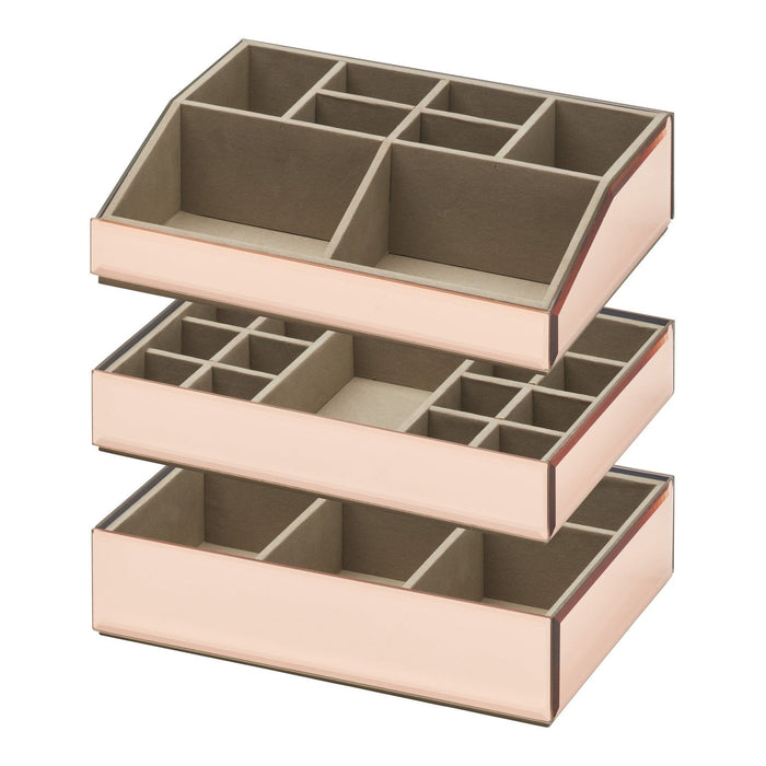 Bella Stackable Jewellery & Makeup Box Set - Rose Gold New, Jewellery Boxes, Ozark Home