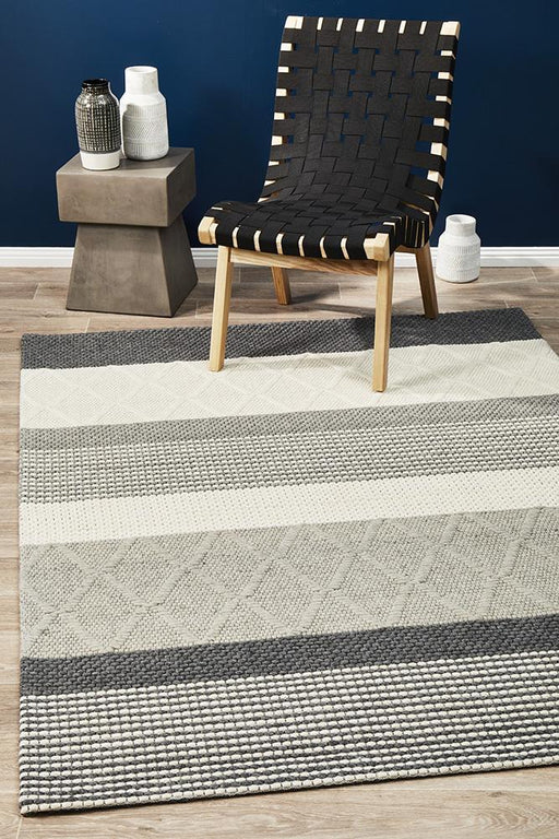 Salvan Grey White & Charcoal Multiple Texture Handwoven Contemporary Rug, Rugs, Ozark Home
