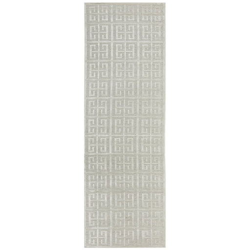 Luxor Natural & White Art Deco Square Luxury Runner Rug, Rugs, Ozark Home