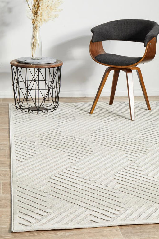 Luxor Natural & White Art Deco Pattern Luxury Rug, Rugs, Ozark Home