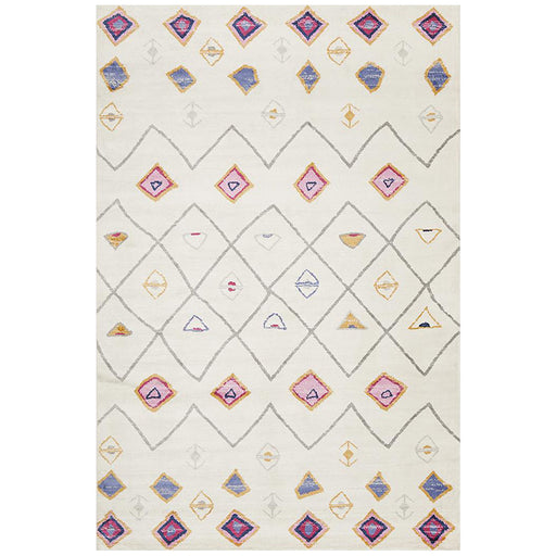 Zile White Diamond Pattern Vintage Rug, Rugs, Ozark Home