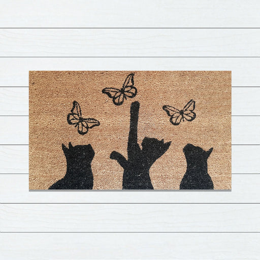 Cats Chasing Butterflies PVC Backed Doormat, 45x75cm - Ozark Home