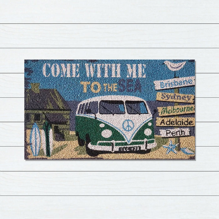 Come With Me PVC Backed Doormat, 45x75cm - Ozark Home