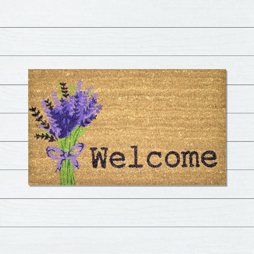 Lavender Welcome PVC Backed Doormat, 45x75cm - Ozark Home