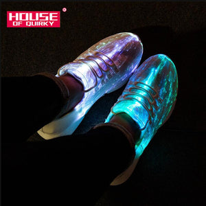 Size 25-46 Summer Led Fiber Optic Shoes for Girls Boys Men Women USB Recharge Glowing Sneakers Man Light Up Shoes Sports Shoes