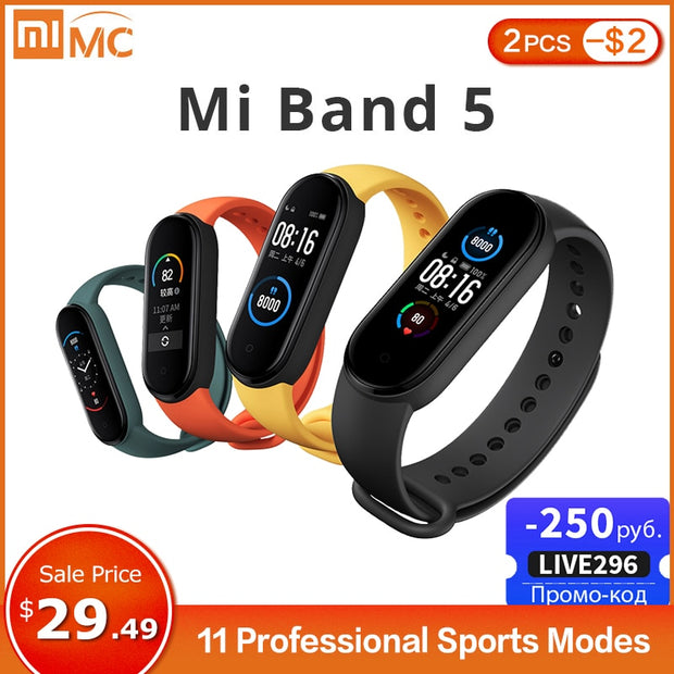 Mi Band 5 Smart Bracelet 4 Color Fitness Tracker Bluetooth Sport Waterproof Smart Band