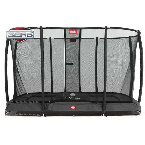 Trampolin - BERG Trampolin InGround EazyFit Grau +Sicherheitsnetz Deluxe,35.62.91.01