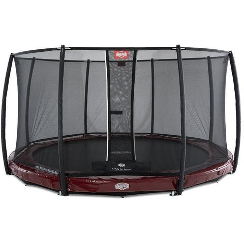 Trampolin - BERG Trampolin InGround Elite Rot 380 Sicherheitsnetz Deluxe,37.92.00.00