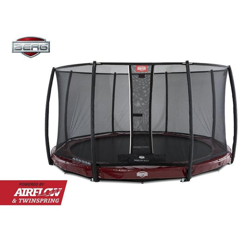 Trampolin - BERG Trampolin InGround Elite Rot 430+Sicherheitsnetz Deluxe,37.94.00.00