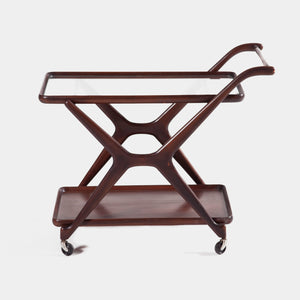 Mid Century Trolley bar in Brown Walnut designed by Cesare Lacca for Cassina