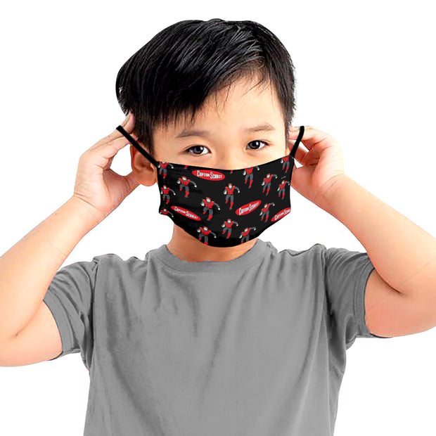 Captain Scarlet Black Pattern Kids Face Mask