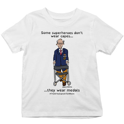 Captain Tom Moore Superheroes Don't Wear Capes By Rebecca Osborne Kid's T-Shirt-Help Our NHS Heroes