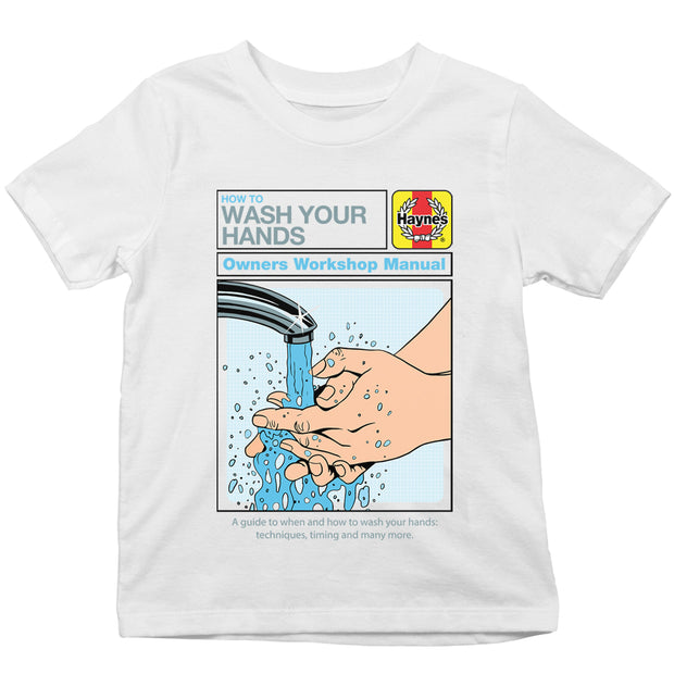 Haynes Manual How To Wash Your Hands Kid's T-Shirt-Help Our NHS Heroes