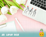 SVG Korean Finger Heart Cut File for Silhouette Cricut, KPop SVG, DXF, PNG, BTS