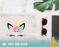 SVG File for Cricut, Silhouette - Cute Unicorn with Hibiscus, SVG, DXF, PNG