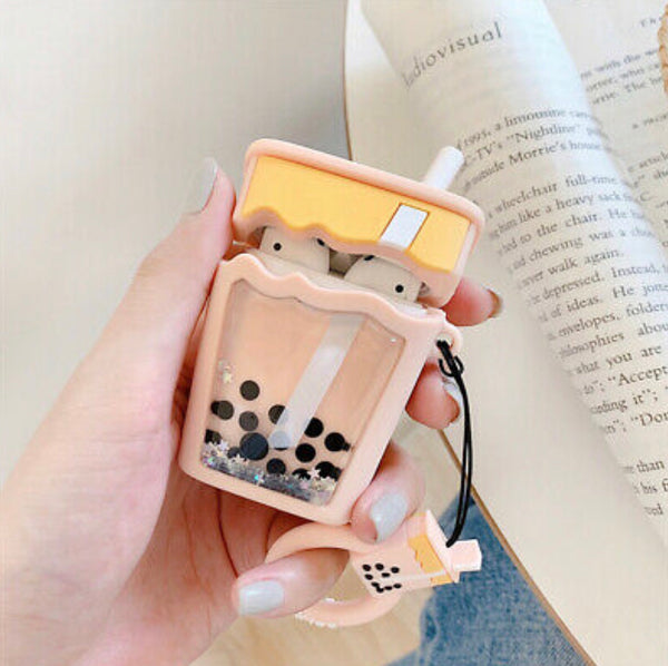 Airpods Case for Apple Airpods 1 and 2 | Milk Tea Boba with Glitter