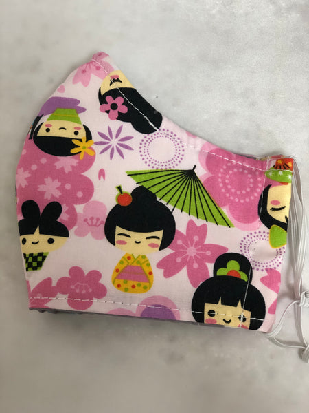 Face Mask, Anti Dust Mask, Travel Mask Kawaii Pink Kokeshi Doll