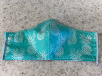 Face Mask, Anti Dust Mask, Travel Mask Hawaiian Print Teal Pineapples