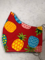 Face Mask, Anti Dust Mask, Travel Mask | Hawaiian Print Red Pineapple