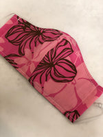 Face Mask, Anti Dust Mask, Travel Mask Hawaiian Print Pink Plumeria