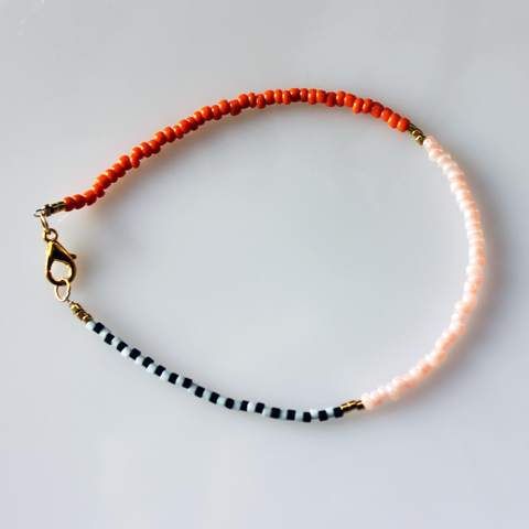 Stribet - Orange - Rosa armbånd