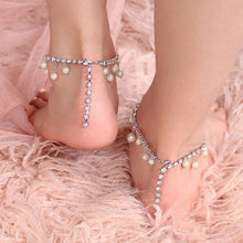Load image into Gallery viewer, Alexi Pearl & Crystal Anklets from back