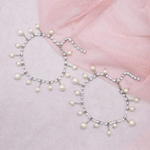 Alexi Pearl & Crystal Anklets on pink