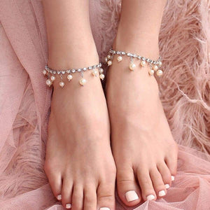 Alexi Pearl & Crystal Anklets from front