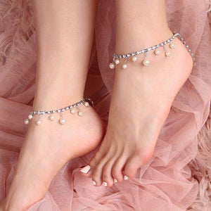 Alexi Pearl & Crystal Anklets from side