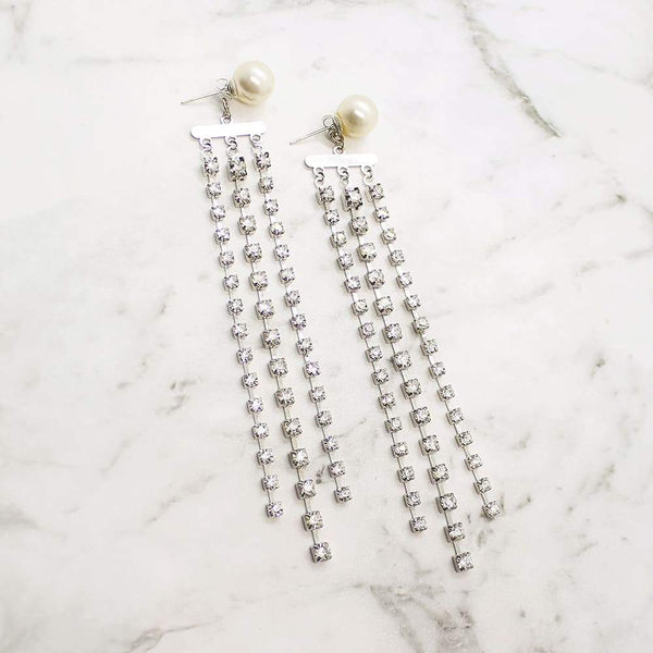 Alexi Modern Chic Bridal Earrings on grey