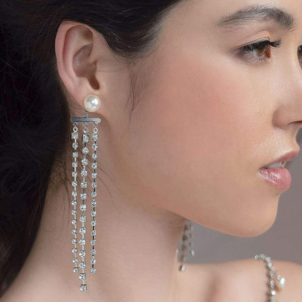 Alexi Modern Chic Bridal Earrings on right ear