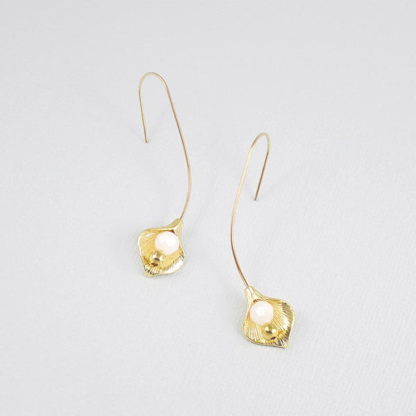 Gold Azami Lily Bridal Hook Earrings on grey
