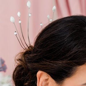 Silver Azami Radiating Lily Bridal Hair Comb from front