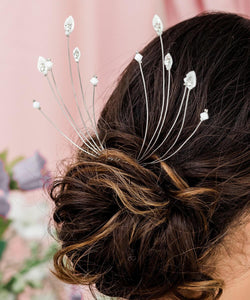 Silver Azami Radiating Lily Bridal Hair Comb from side