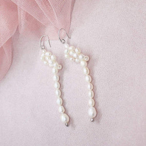 Bekki freshwater pearl loop earrings on pink