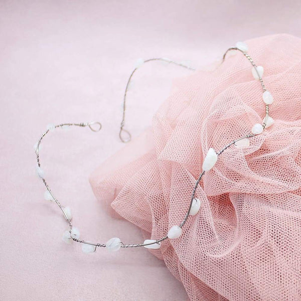 Bekki Moonstone Headpiece on pink