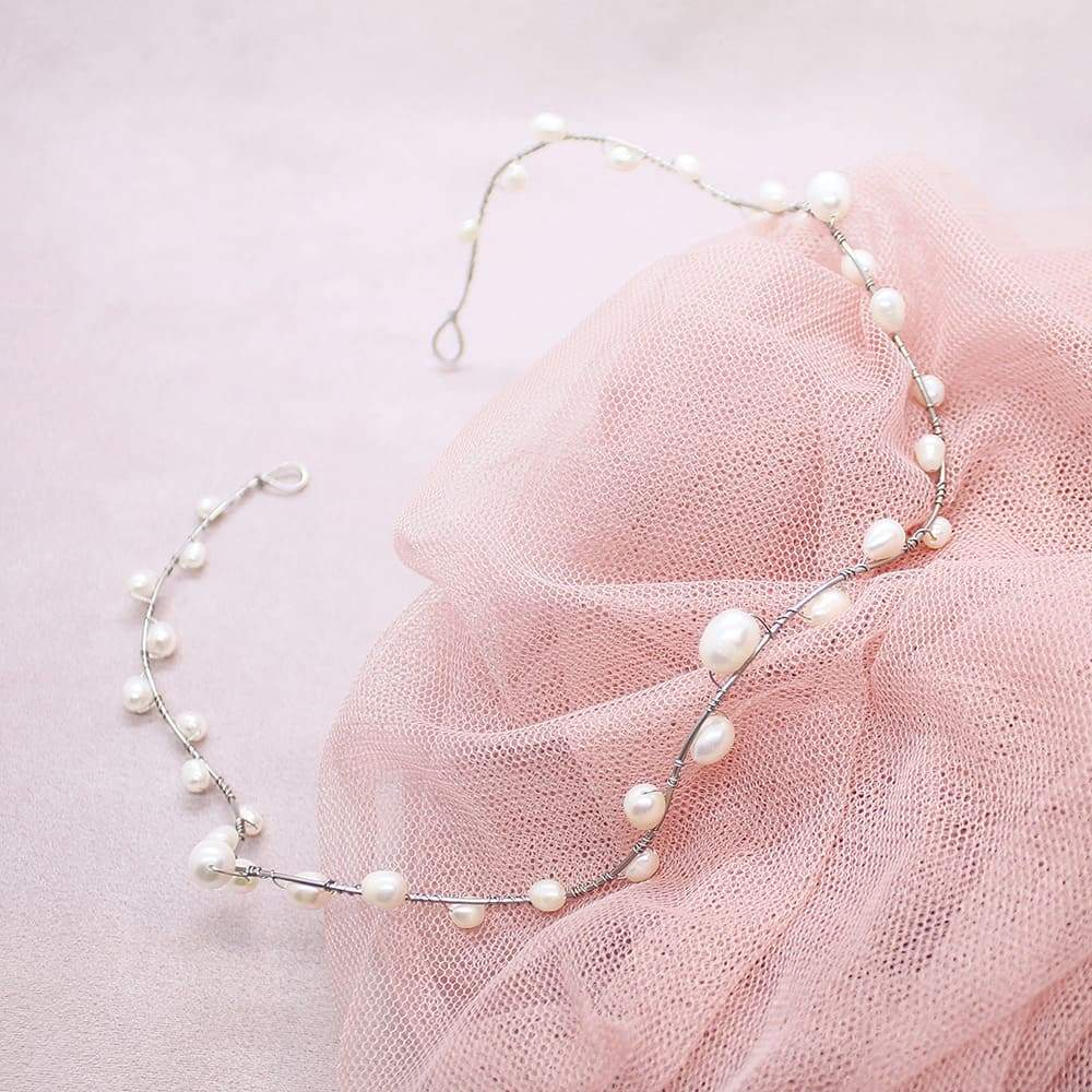 Bekki freshwater pearl crown on pink