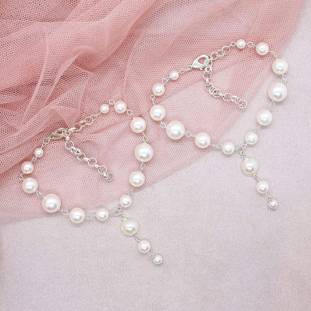 Caiti modern pearl anklets on pink