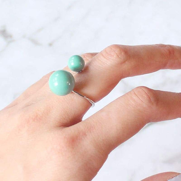 Turquoise Calypso Modern Pearl Wrap Ring on finger