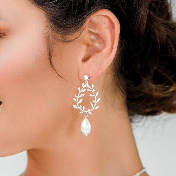 Silver Cassia Pearl Drop Bridal Earrings from close