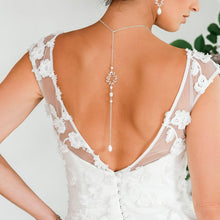 Load image into Gallery viewer, Silver Cassia Leaf Backdrop Bridal Necklace from back