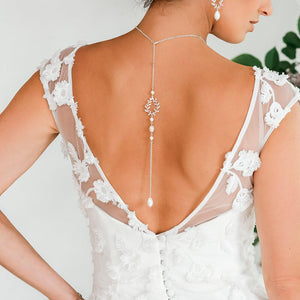 Silver Cassia Leaf Backdrop Bridal Necklace from back