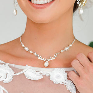 Silver Cassia Leaf Backdrop Bridal Necklace from front