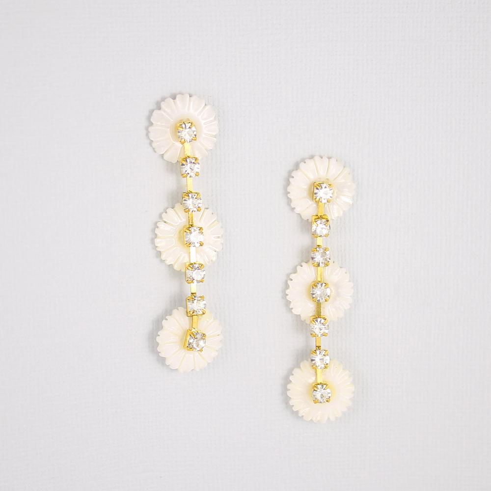 Gold Chloe Pearl Daisy Earrings on grey