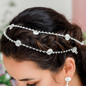 Silver Chloe Bridal Daisy Head Chain from side in parallel