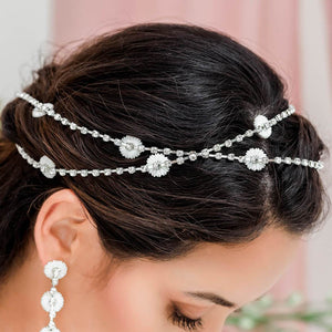 Silver Chloe Bridal Daisy Head Chain from side in X