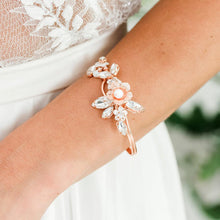 Load image into Gallery viewer, Rose gold Dahlia French Bridal Cuff Bracelet from close
