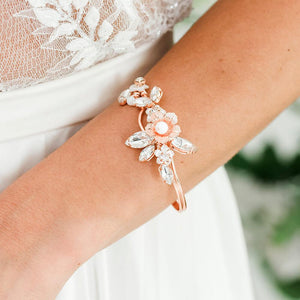 Rose gold Dahlia French Bridal Cuff Bracelet from close