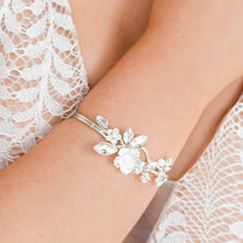 Load image into Gallery viewer, Silver Dahlia French Bridal Cuff Bracelet from close