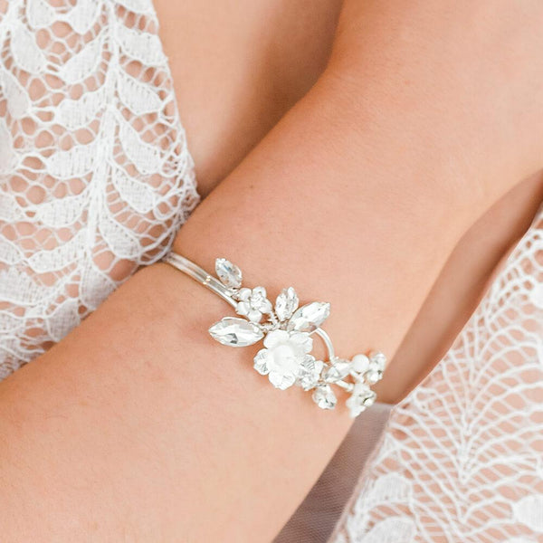Silver Dahlia French Bridal Cuff Bracelet from close